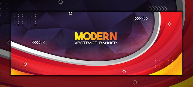 Modern abstract banner background with gradient red and dark purple low poly