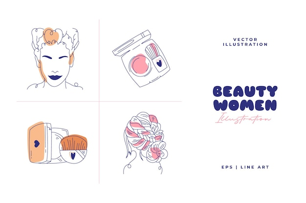 Modern abstract beauty illustration. line art drawing style. doodle vector.