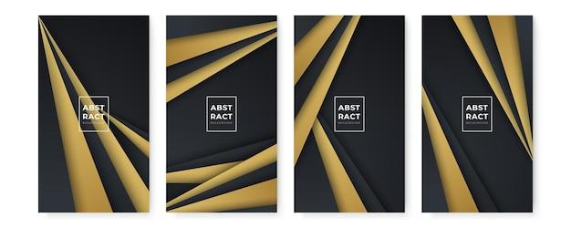 골드 라인으로 설정하는 현대 추상 검은 배경