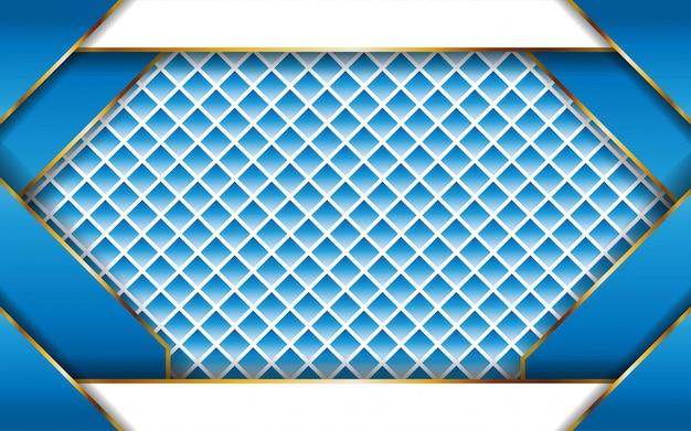 ゴールドラインとモダンな抽象的な青いベクトルの背景。紙の効果でレイヤーを重ねます。デジタルテンプレート。テクスチャラインの背景に現実的な光の効果