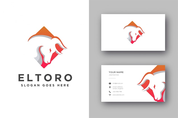 Modern abstract bull head logo and business card