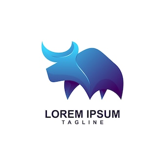 Modern abstract bull logo premium