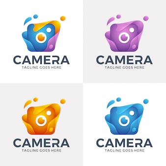 Modern abstract camera logo with 3d style.