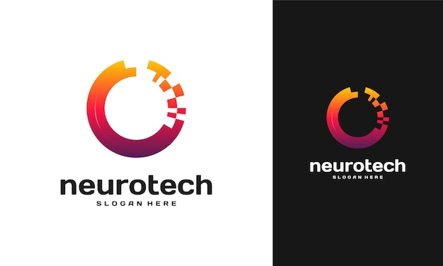Modern abstract circle technology logo template, neurotech logo
