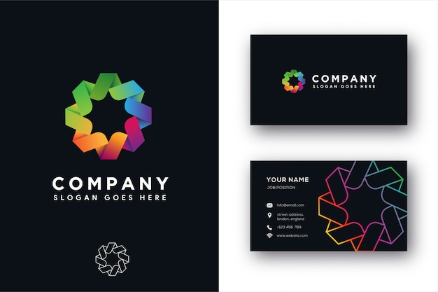 Modern abstract compass unity logo and business card templae