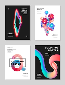 Modern abstract cover design template fluid hologram shapes composition