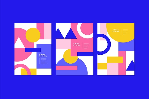 Modern abstract cover template with shapes set