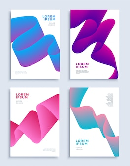 Modern abstract covers design templates set liquid shapes composition