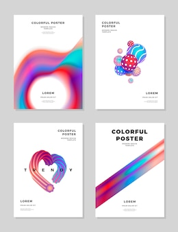 Modern abstract covers design templates set trendy fluid hologram shapes composition