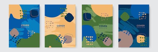 현대 추상 커버 세트, 최소한의 커버 디자인. 다채로운 기하학적 배경, 벡터 일러스트 레이 션입니다.