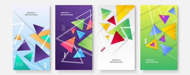 현대 추상은 스토리 소셜 미디어 세트를 다루고 최소한의 디자인을 다룹니다. 다채로운 기하학적 배경, 벡터 일러스트 레이 션입니다.
