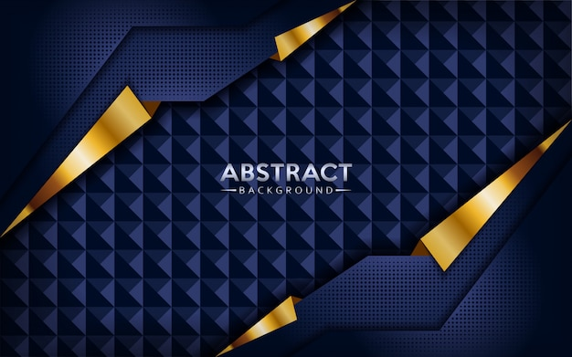 Modern abstract dark navy blue background with golden lines.