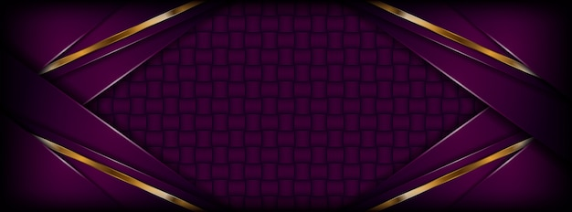 Modern abstract dark purple background with golden overlap layers