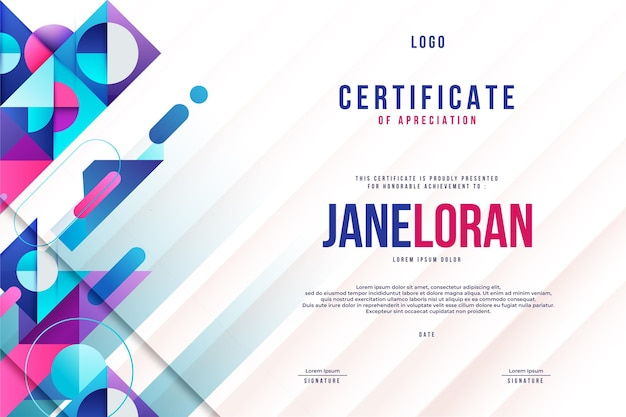 Modern abstract design of certificate template