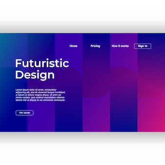 Modern abstract design of landing page minimal style