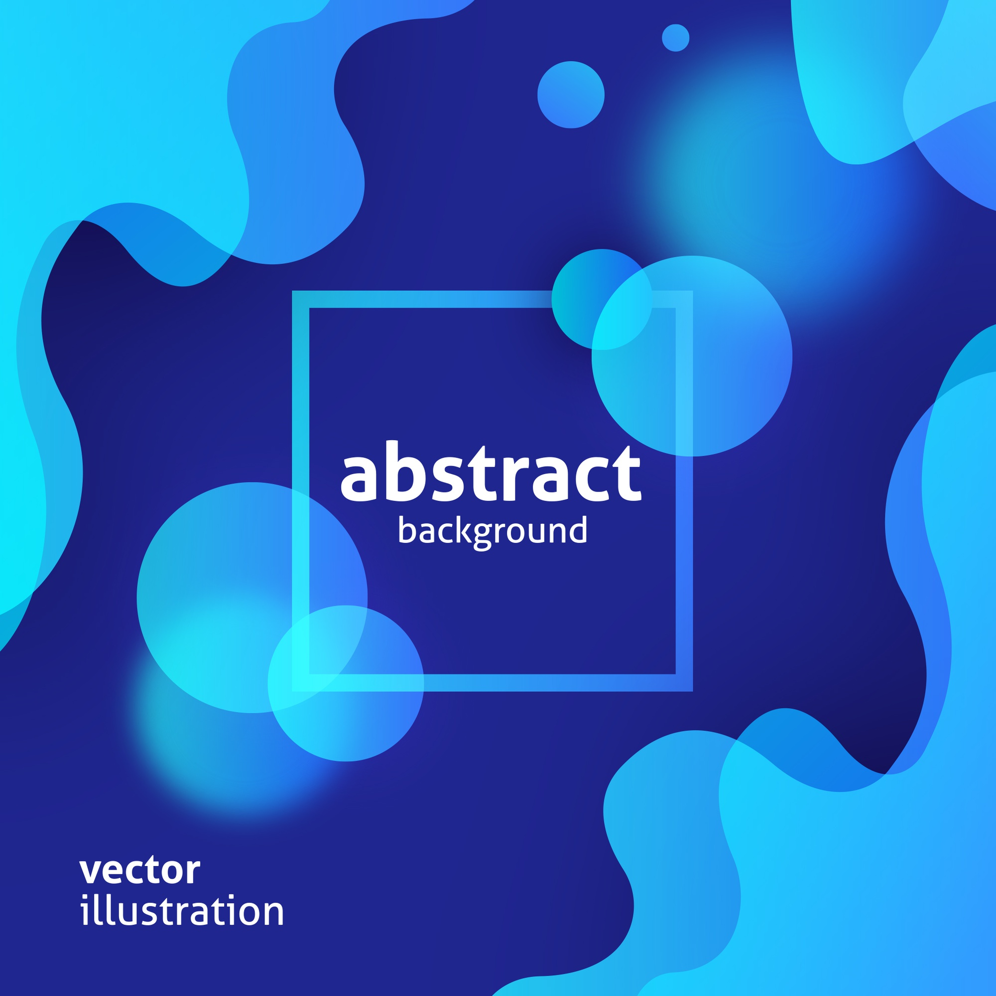Modern abstract design with blue liquid shapes