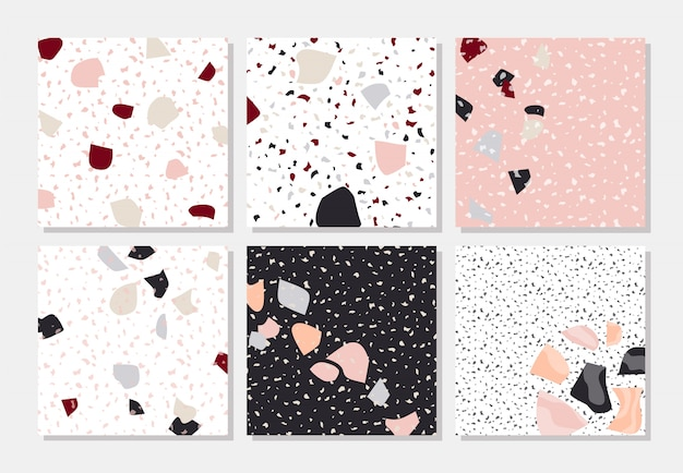 Modern abstract designs in terrazzo style.