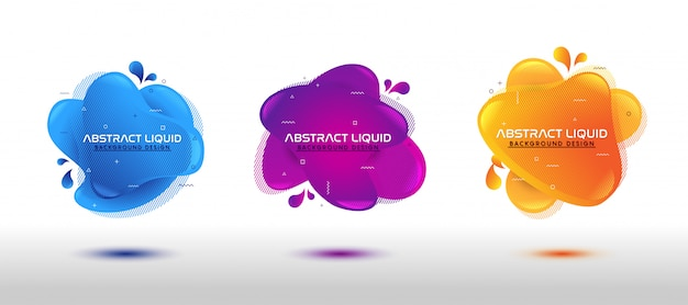 Modern abstract dynamic fluid liquid set