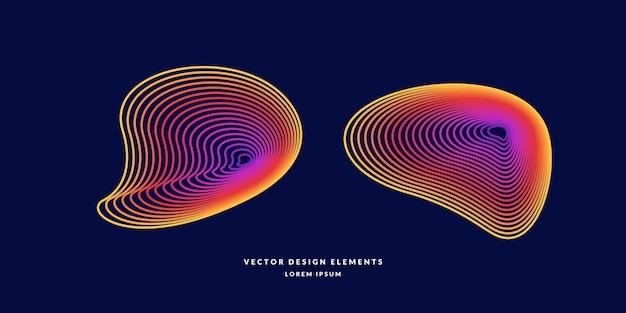 色付きの線でモダンな抽象的な要素