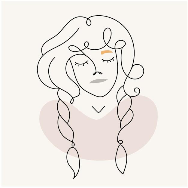 현대 추상 얼굴입니다. 선형 스타일에 땋은 소녀. 파스텔 색상. 미니멀리즘 스타일의 패션 포스터. 윤곽.