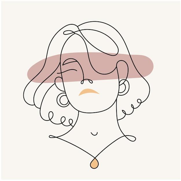 현대 추상 얼굴 선형 스타일에 여자의 실루엣. 파스텔 색상. 미니멀리즘 스타일의 패션 포스터. 윤곽.