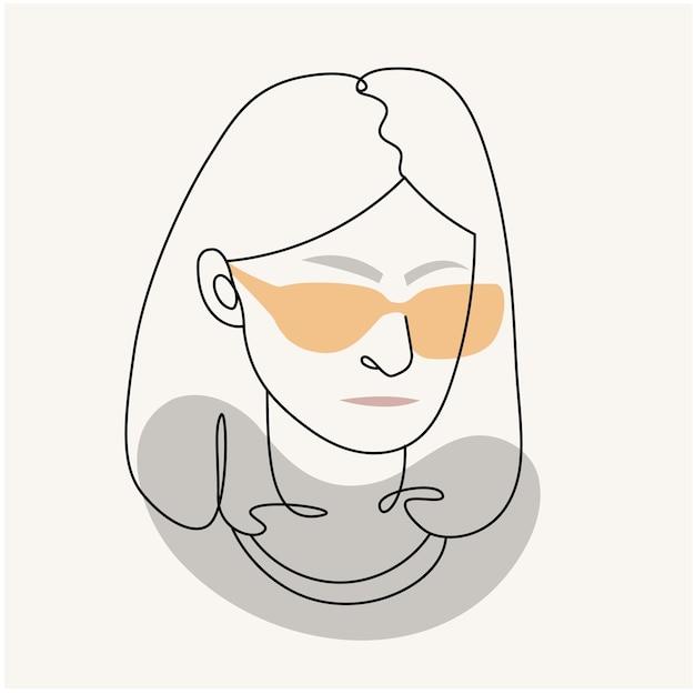현대 추상 얼굴 선형 스타일에 안경에 여자의 실루엣. 파스텔 색상. 미니멀리즘 스타일의 패션 포스터. 윤곽.
