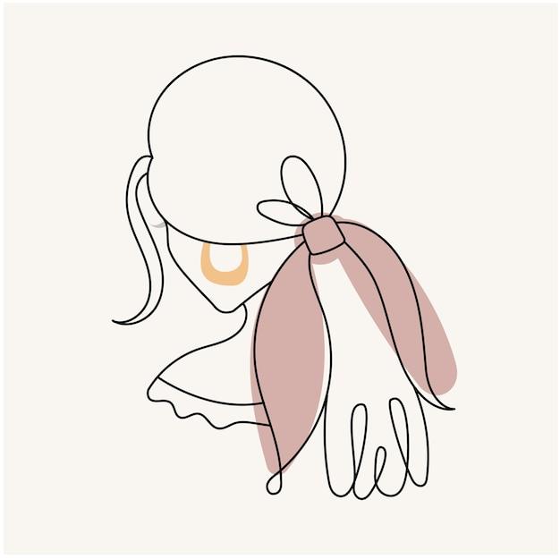 현대 추상 얼굴 선형 스타일에 활과 소녀의 실루엣. 파스텔 색상. 미니멀리즘 스타일의 패션 포스터. 윤곽.
