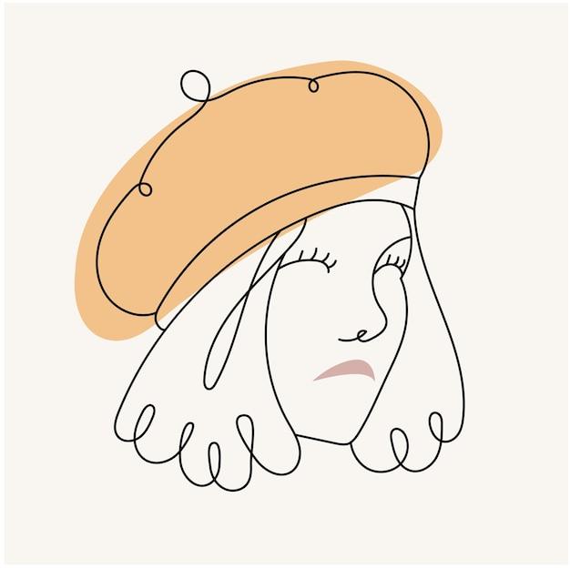 현대 추상 face.the 여자는 베레모. 선형 스타일의 모자. 파스텔 색상. 미니멀리즘 스타일의 패션 포스터. 윤곽.