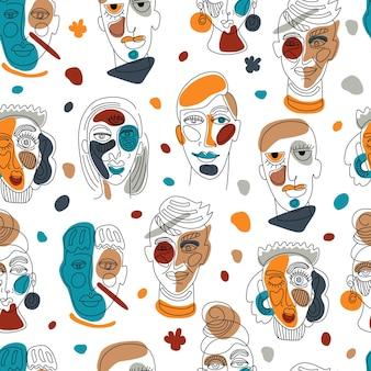 現代の抽象的な顔のシームレスなパターン。現代的な女性の男のシルエット。