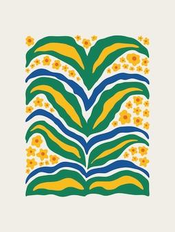 파스텔 배경에 밝고 화려한 꽃과 잎이 있는 현대적인 추상 꽃 무늬