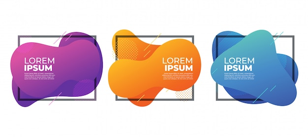 Modern abstract fluid liquid shape frames banner colorful.