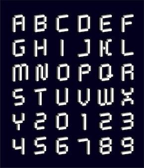 Современный абстрактный шрифт и 3d алфавит белый с цифрами.
