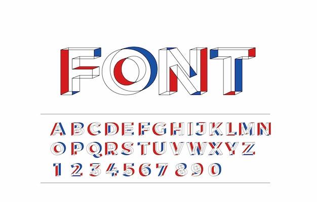 Modern abstract font set of alphabet text design
