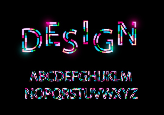 Modern abstract font trendy style distorted typeface