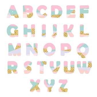 Modern abstract font with glitter.
