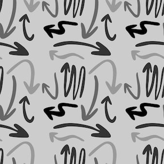 現代の抽象的な幾何学的な矢印のパターン。ベクトル矢印シームレスパターン背景灰色の背景に手描き