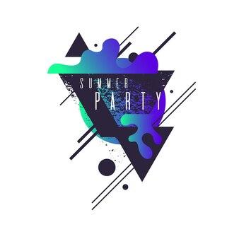 Современный абстрактный геометрический фон с плоским стилем. векторный плакат партии с элементами дизайна