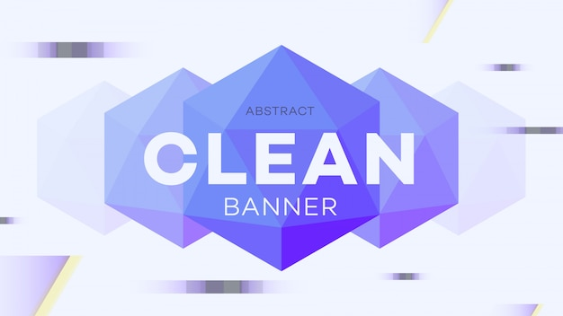 Modern abstract geometric banner with 3d hexagon figure.