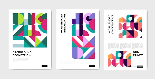 Modern abstract geometric cover template with bauhaus style