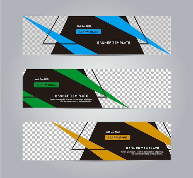 Modern and abstract geometric web banner template.