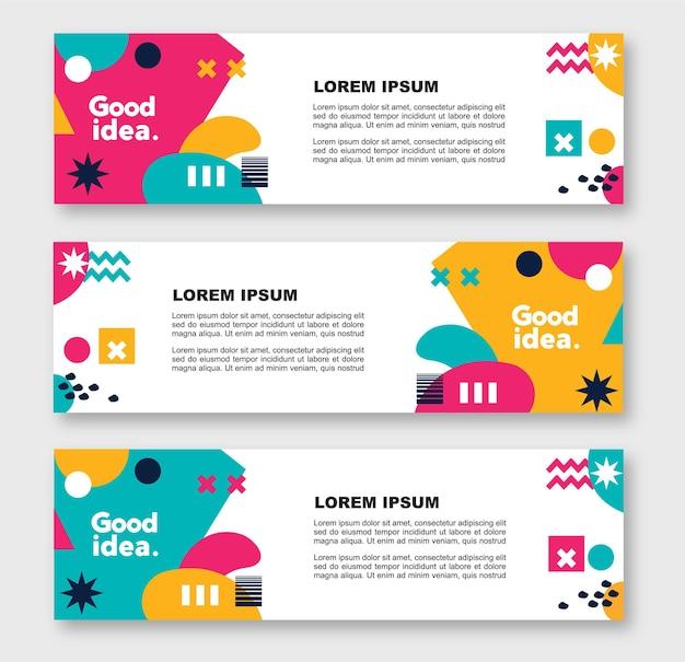 Modern abstract geometric website banner template bundle set vector design