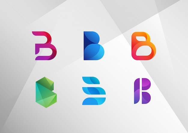 Modern abstract gradient b logo set