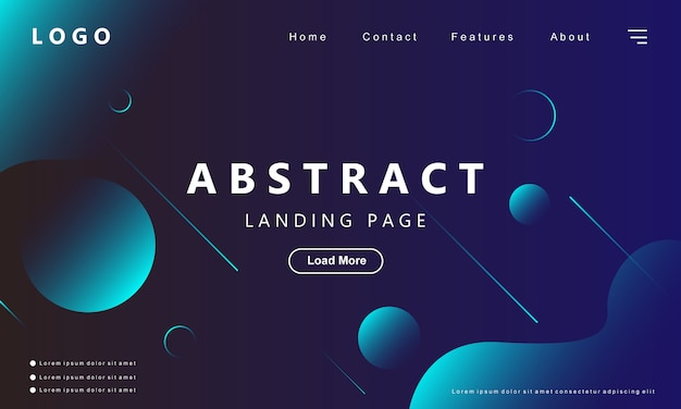 Modern abstract gradient blue landing page