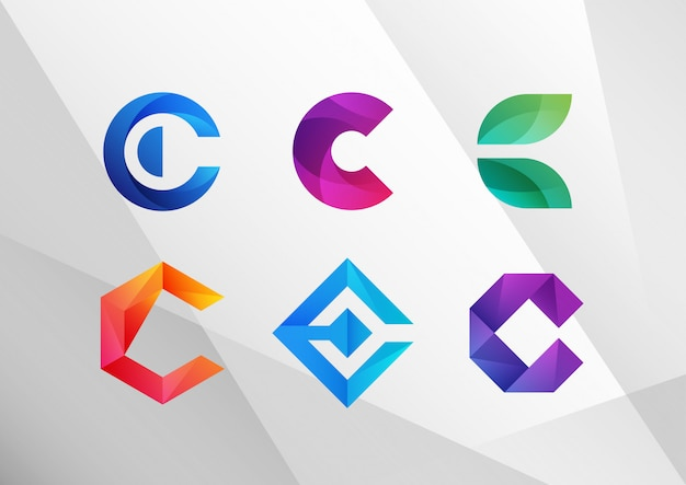 Modern abstract gradient c logo set