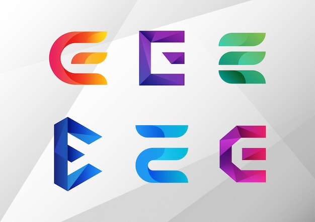 Modern abstract gradient e logo set