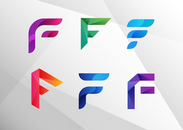 Modern abstract gradient f logo set