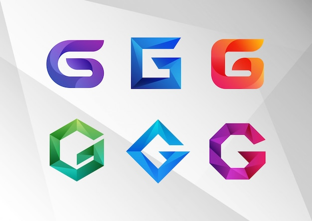 Modern abstract gradient g logo set