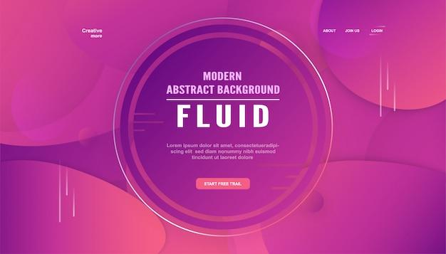 Современная абстрактная градиентная посадочная страница в жидком и жидком стиле.
