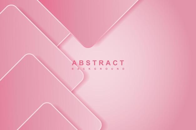 幾何学的な形の3d装飾とモダンな抽象的なグラデーションピンクの背景