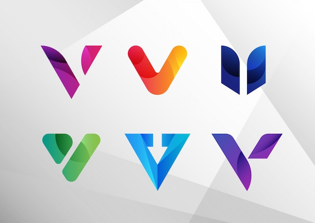 Modern abstract gradient v logo set